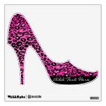 Pink Leopard Print Custom Text Stiletto Wall Cling Wall Decal
