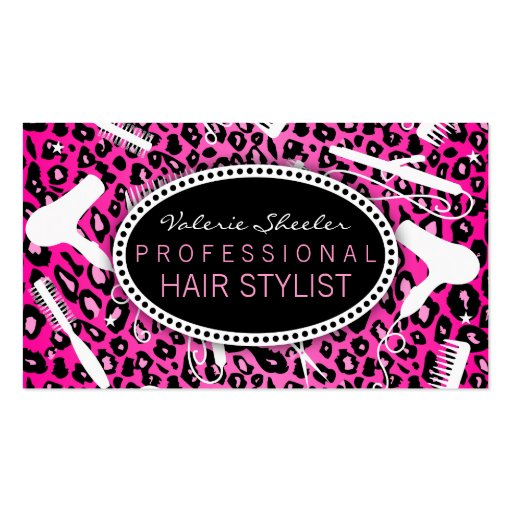 Pink Leopard Print Hair Salon Tools (Custom) Business Cards