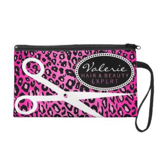 Pink Leopard Print Hair Shears Wristlet Purse
