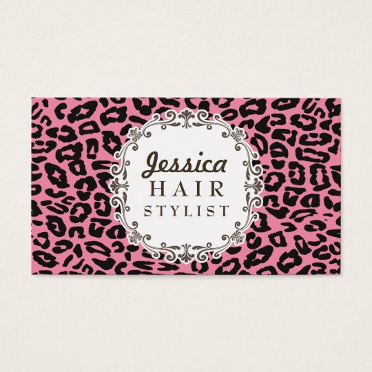 Pink Leopard Print Hair Stylist Appointment Cards