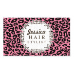 Pink Leopard Print Hair Stylist Appointment Cards Business Cards