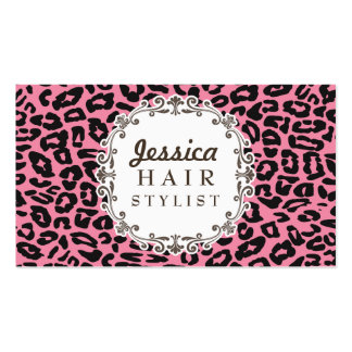 Pink Leopard Print Hair Stylist Appointment Cards Double-Sided Standard Business Cards (Pack Of 100)