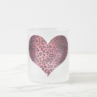 Pink Leopard Print Heart 10 Oz Frosted Glass Coffee Mug