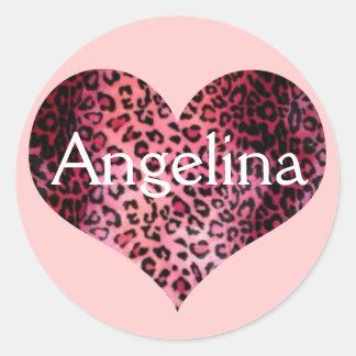 Pink Leopard Print Heart Name Classic Round Sticker