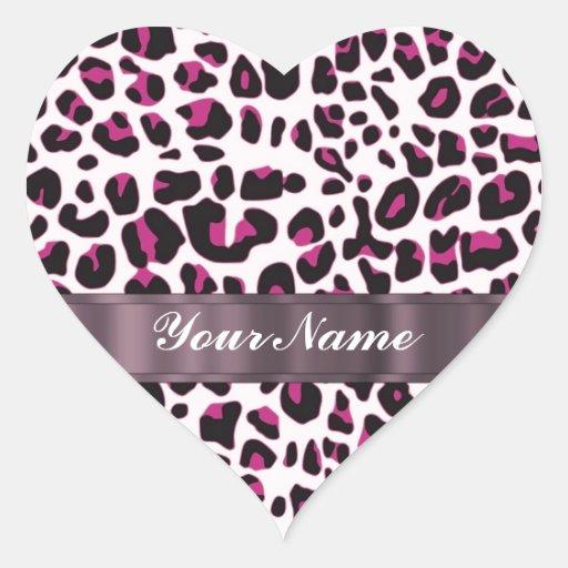 Pink leopard print heart sticker
