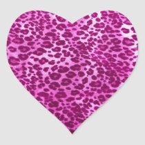 Pink leopard print heart sticker
