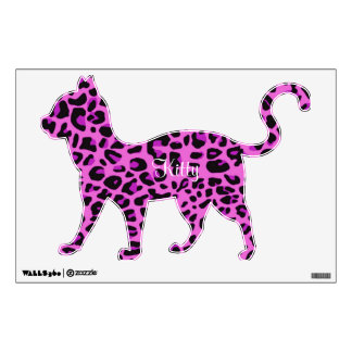 Pink Leopard Print Kitty Wall Sticker