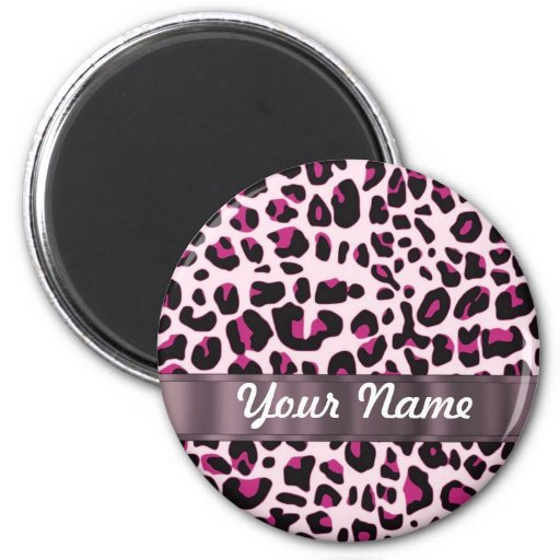 Pink leopard print magnet
