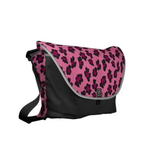 Pink Leopard Print Messenger Bag