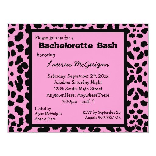 Pink Leopard Print Party Invitation