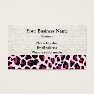 Pink leopard print pattern business card