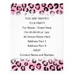 Pink Leopard Print Pattern. Custom Invitation