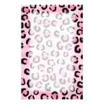 Pink Leopard Print Pattern. Customized Stationery