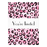 Pink Leopard Print Pattern. Personalized Invites