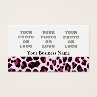 Pink leopard print pattern photo logo template business card