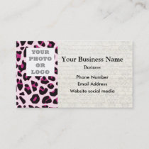 Pink leopard print pattern photo template business card