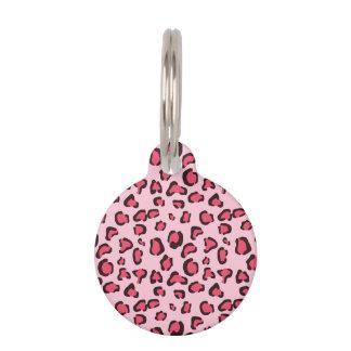 Pink Leopard Print Pattern With Custom Info Pet Nametag
