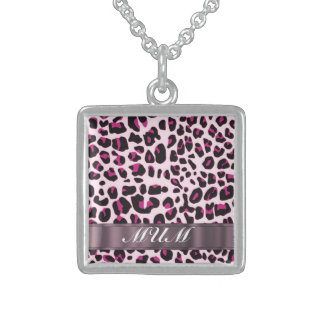 Pink leopard print personalized mothers sterling silver necklace