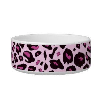 Pink leopard print pet food bowls