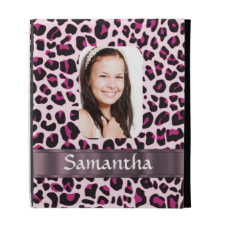Pink leopard print photo template iPad cases