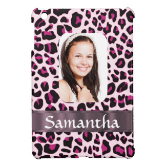 Pink leopard print photo template cover for the iPad mini