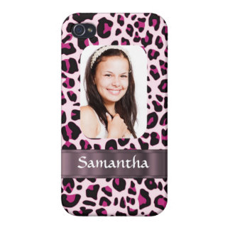 Pink leopard print photo template iPhone 4 cover