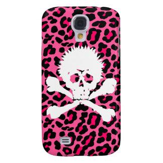 Pink Leopard Print Punk Goth Skull  Iphone case Samsung Galaxy S4 Cover