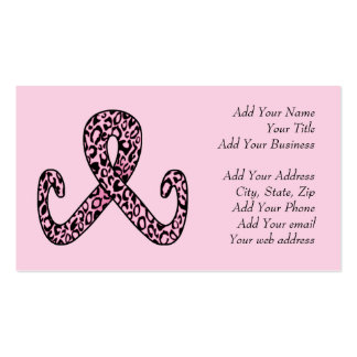 Pink Leopard Print Ribbon Business Cards
