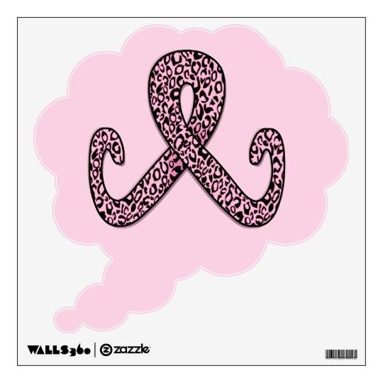 Pink Leopard Print Ribbon Wall Decal