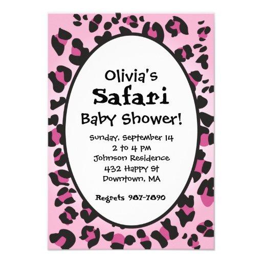 pink leopard print safari baby shower invite 3 5 x 5 invitation c