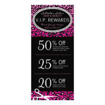 Pink Leopard Print Salon Coupons Specials Rack Card