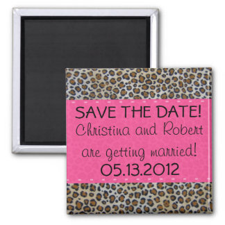 Pink & Leopard Print Save the Date Magnet