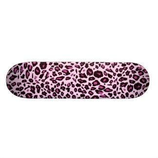 Pink leopard print skateboard