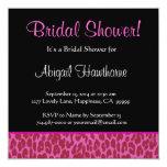 """Pink Leopard Print Square Bridal Shower Invite 5.25"""" Square Invitation Card"""