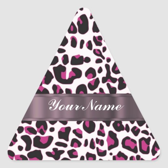 Pink leopard print triangle sticker