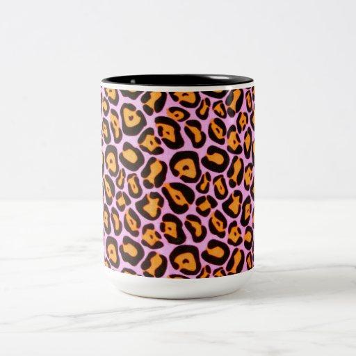 Pink Leopard Print Two-Tone Coffee Mug