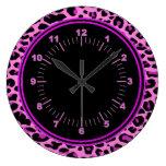Pink Leopard Round Wall Clock