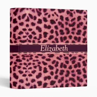 Pink Leopard Skin Pattern Personalize Binder