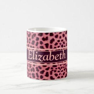 Pink Leopard Skin Pattern Personalize Coffee Mug