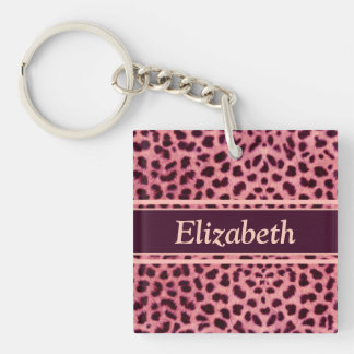 Pink Leopard Skin Pattern Personalize Double-Sided Square Acrylic Keychain