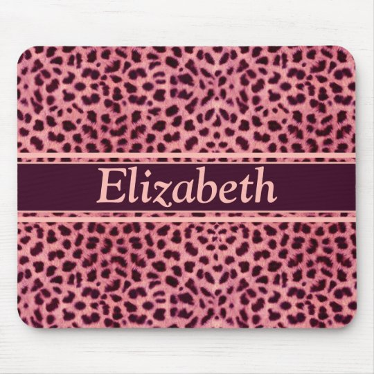 Pink Leopard Skin Pattern Personalize Mouse Pad