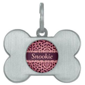 Pink Leopard Skin Pattern Pet ID Tags