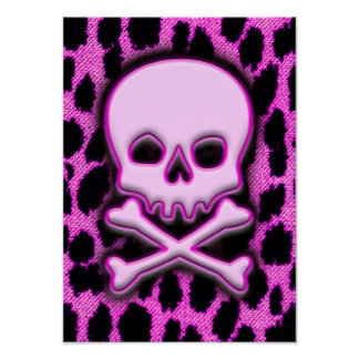 Pink Leopard Skull Posters