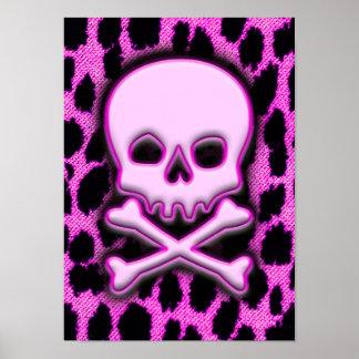 Pink Leopard Skull Poster