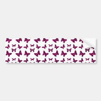 Pink Leopard Spots Butterflies Pattern Bumper Sticker