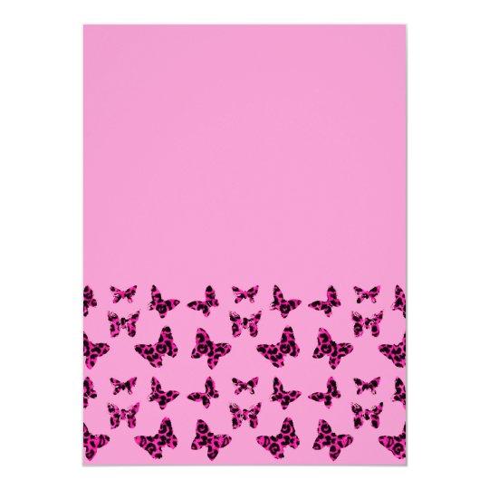 Pink Leopard Spots Butterflies Pattern Card