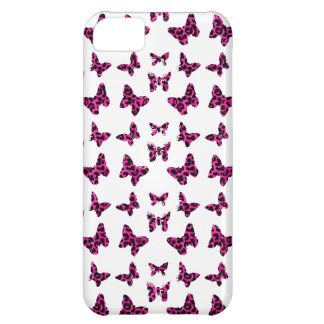 Pink Leopard Spots Butterflies Pattern Cover For iPhone 5C