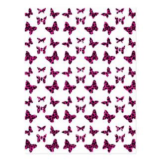 Pink Leopard Spots Butterflies Pattern Postcard