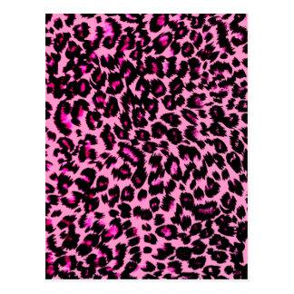 Pink Leopard Spots Pattern Postcard