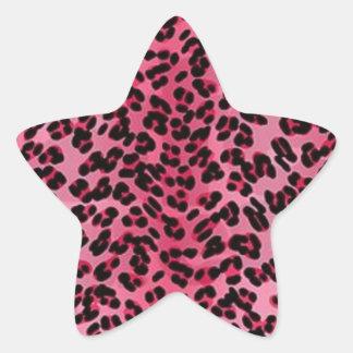 Pink leopard spots shades pattern star sticker